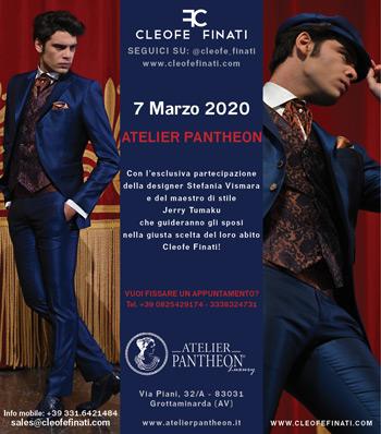 7 Marzo 2020 a Grottaminarda eccezionale presenza della designer Stefania Vismara e del maestro di stile Jerry presso l'Atelier Pantheon.