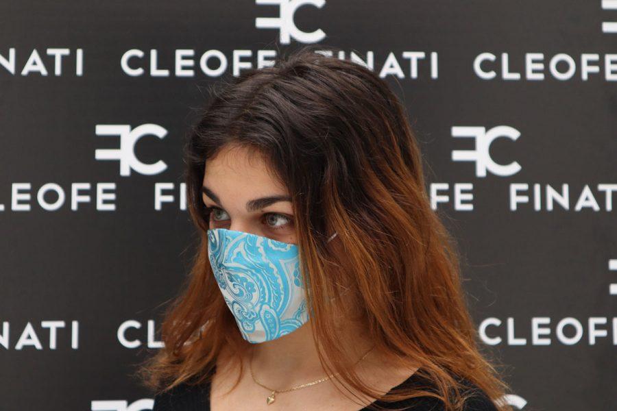 Cornflower silk mask by Cleofe Finati