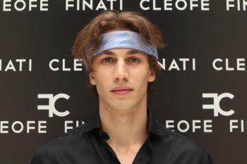 Silk light blue Headband &Hair Bandana Made in Italy Ortensia by Cleofe Finati