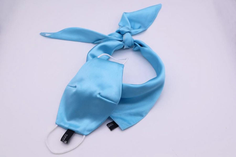 Silk light blue Headband & Hair Bandana Made in Italy for man and woman Ninfea by Cleofe Finati