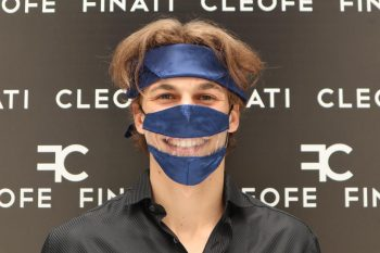 Silk Man Woman Headband & Hair Bandana dark blue Fiordaliso by Cleofe Finati