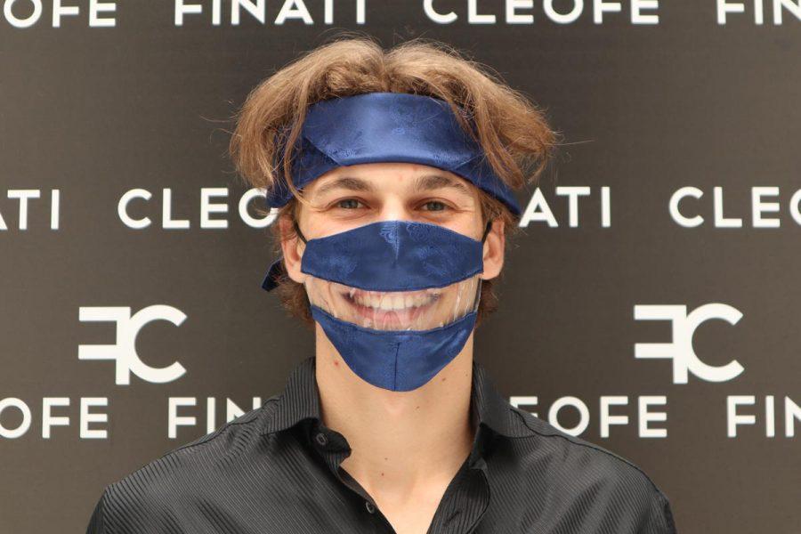 Bandana per capelli uomo donna blu in seta glamour Fiordaliso by Cleofe Finati