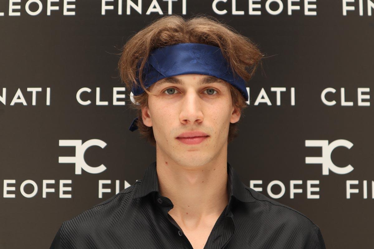 Bandana per capelli uomo donna blu in seta glamour Fiordaliso