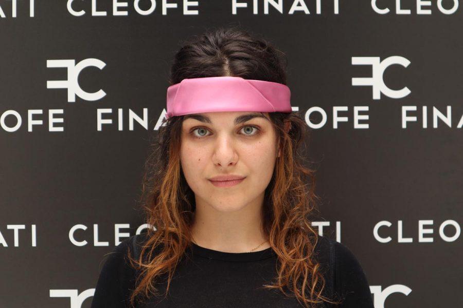 Silk pink Headband &Hair Bandana Made in Italy Bouganville by Cleofe Finati