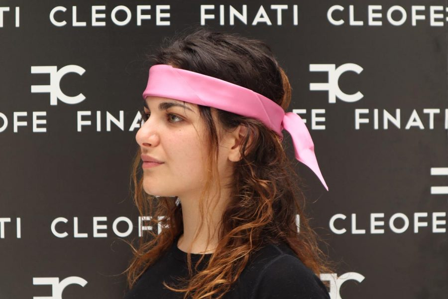 Silk pink Headband & Hair Bandana Made in Italy Bouganville by Cleofe Finati