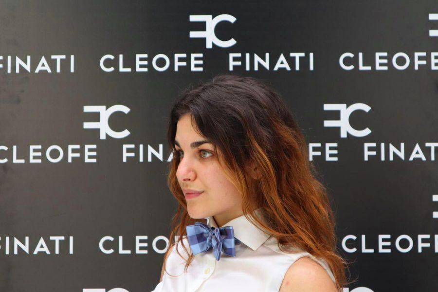 Cravattino / papillon glamour azzurro blu con fantasia a quadri in seta pura Plum by Cleofe Finati
