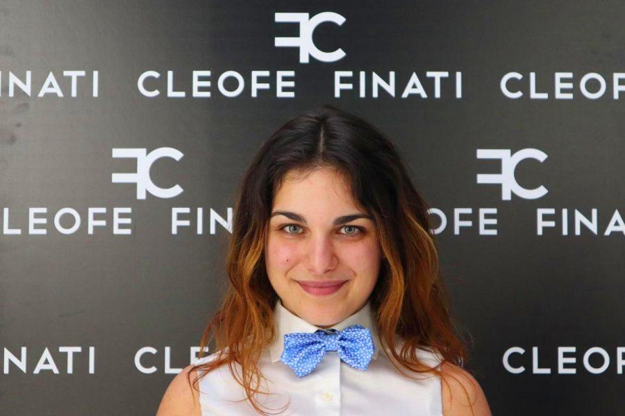 Cravattino / papillon glamour azzurro in seta pura Melon by Cleofe Finati