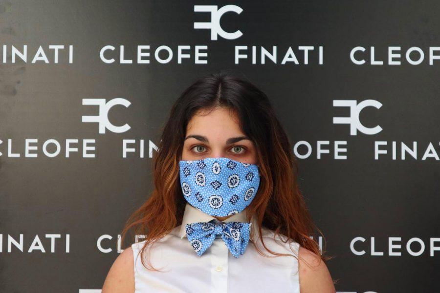 Cravattino / papillon glamour azzurro in seta pura Apricot by Cleofe Finati