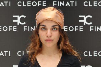 Fascia per capelli beige ocra in seta Made in Italy Narciso by Cleofe Finati