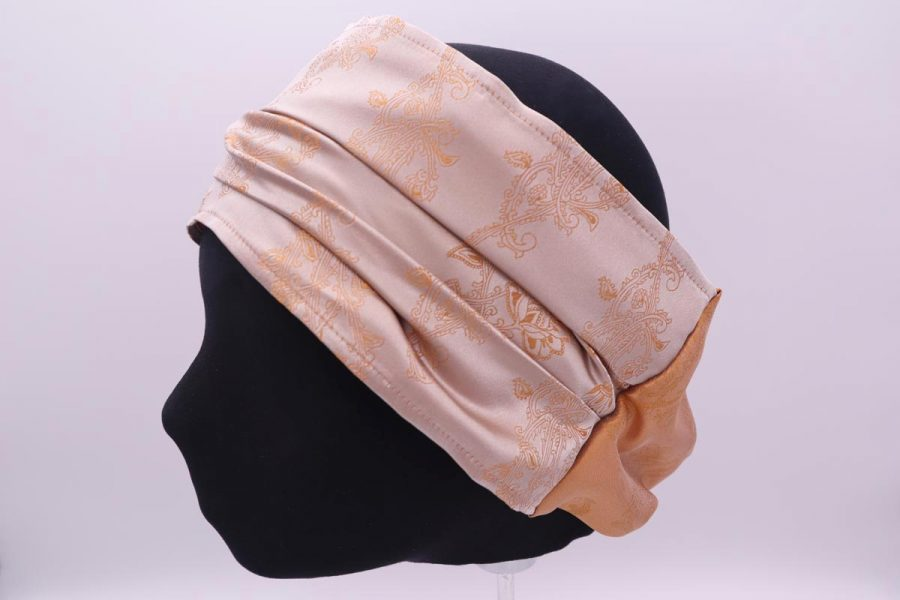 Silk beige and ocher Hair Band Made in Italy Narciso by Cleofe Finati