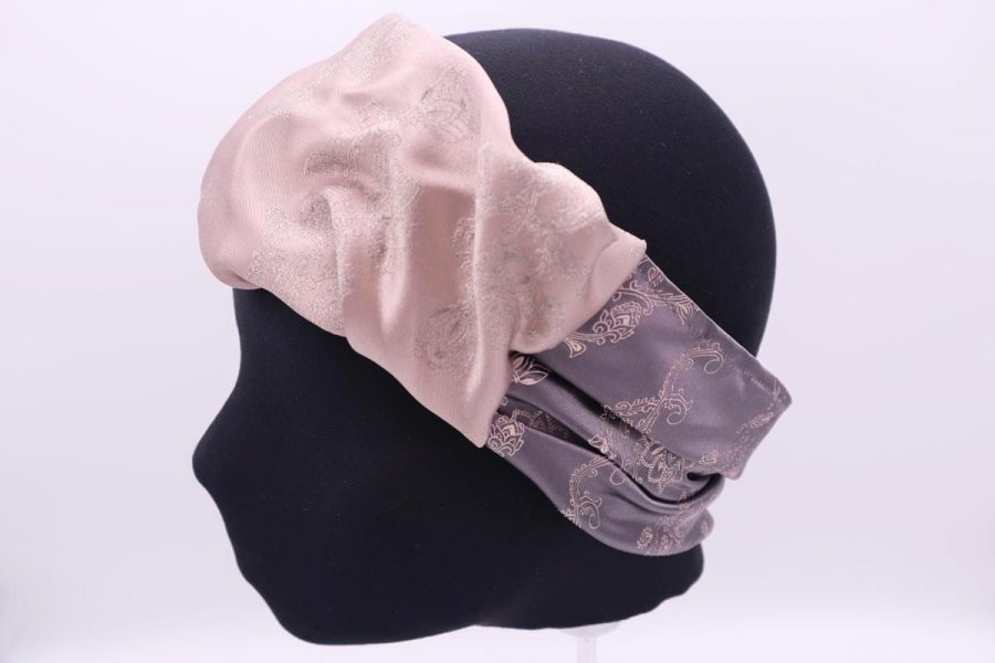 Silk beige and grey Hair Band Made in Italy Camelia by Cleofe Finati