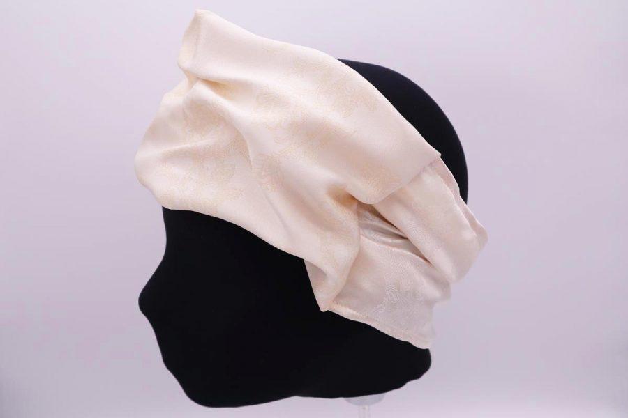 Fascia per capelli panna in seta Made in Italy Biancospino by Cleofe Finati