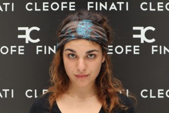Fascia per capelli turchese antracite in seta Made in Italy Bergenia by Cleofe Finati