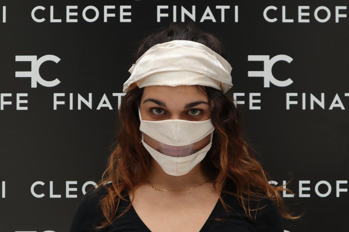 Mascherina DEL SORRISO in SETA panna Biancospino by Cleofe Finati