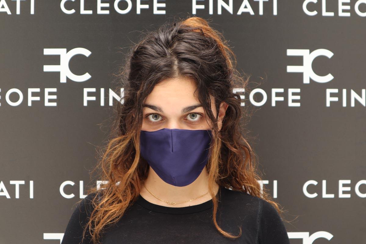 Blue mask in silk Plumeria by Cleofe Finati