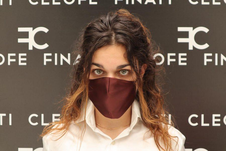 Unisex bordeaux mask in silk Dalia by Cleofe Finati