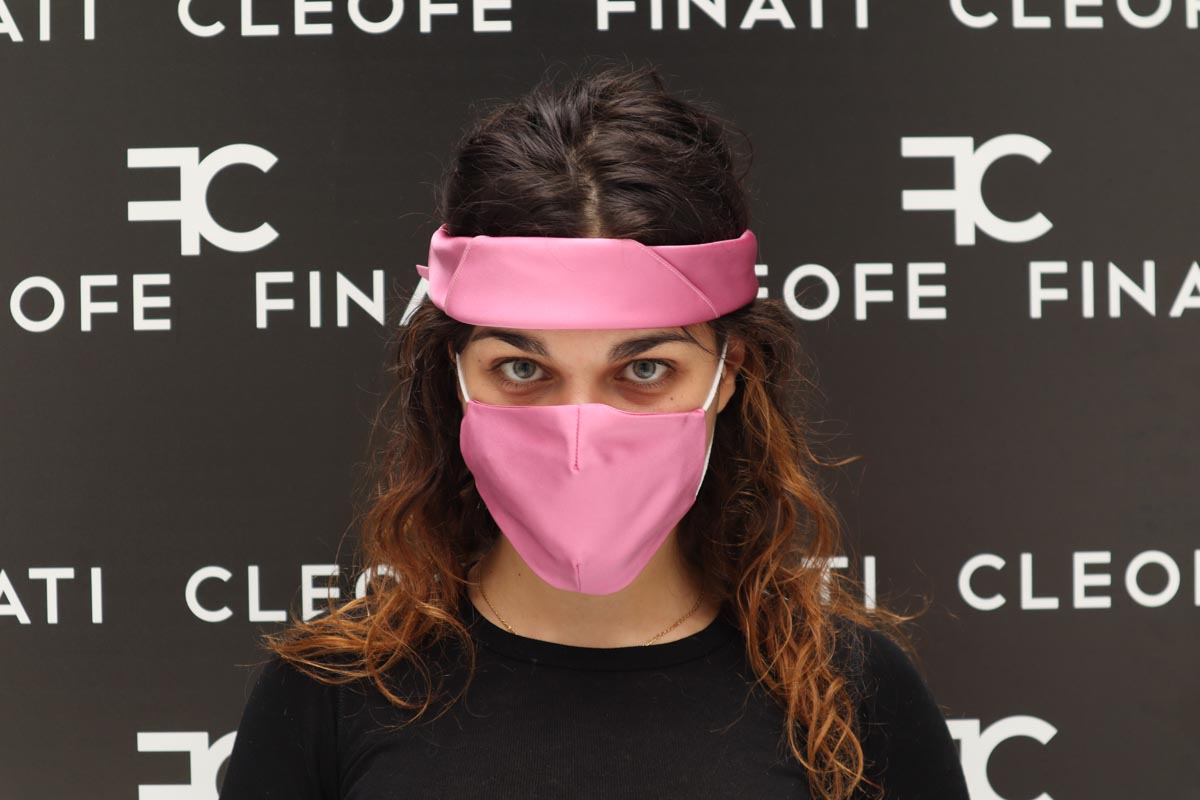 Pink mask in silk Bouganville by Cleofe Finati