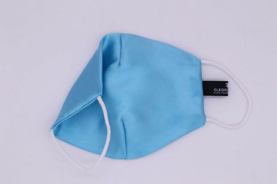 Mascherina unisex in seta azzurra glamour Ninfea by Cleofe Finati