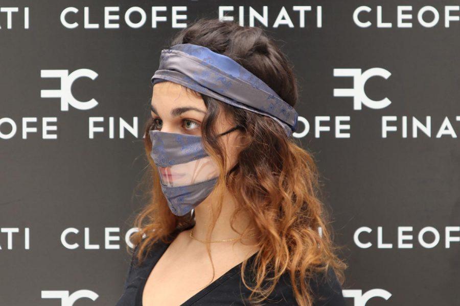 Mascherina DEL SORRISO in SETA grigio antracite Maonia by Cleofe Finati