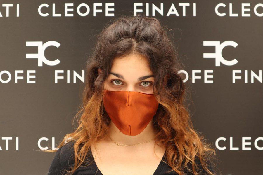 Unisex mask in silk Magnolia by Cleofe Finati