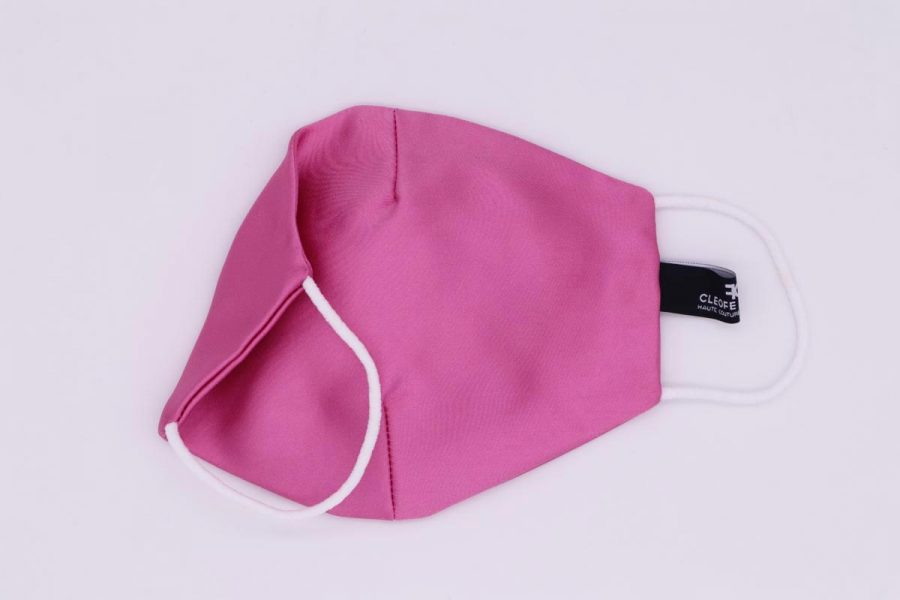Mascherina in seta rosa glamour Bouganville by Cleofe Finati