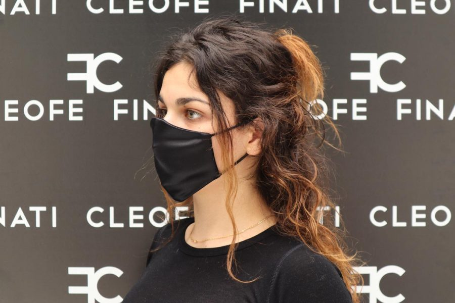 Mascherina nera in seta glamour Sterlizia by Cleofe Finati