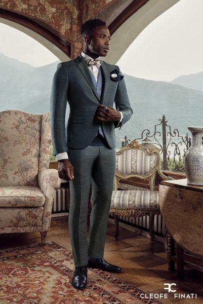 Abito da sposo fashion verde made in Italy 100% by Cleofe Finati